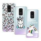 Young & Min Funda para Xiaomi Redmi Note 9, (3 Pack) Transparente TPU Silicona Carcasa Delgado Antigolpes Resistente, Unicornio