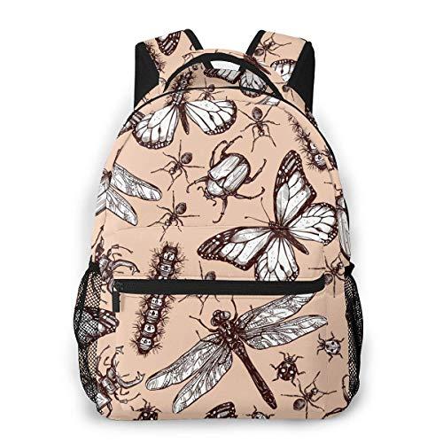 VstiSsxhdai Libelle Dekoration Vintage Insekt Caterpillar Rucksack Muster gedruckt Bookbag Buch zurück Mini Laptop Tasche Schule Reisen Wandern
