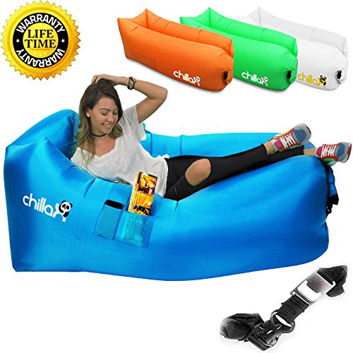 Chillax Inflatable Lounger - Best Air Lounger for Travelling, Camping, Hiking - Ideal Inflatable Couch for Pool and Beach Parties - Perfect Air Chair for Picnics or Festivals (Blue)