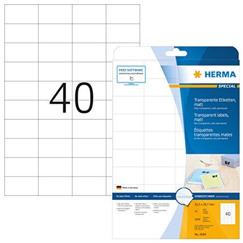 HERMA 4684 Wetterfeste Folien-Etiketten DIN A4 transparent (52,5 x 29,7 mm, 25 Blatt, Polyesterfolie, matt) selbstklebend, bedruckbar, permanent haftende Klebefolie, 1.000 Klebeetiketten, durchsichtig