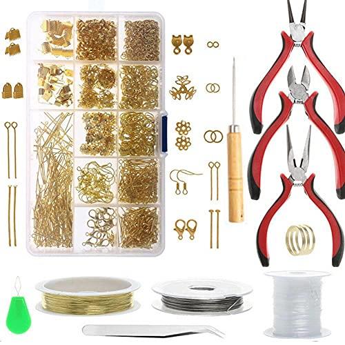 MMYAN Juego de 1010 piezas de joyería para hacer suministros de bricolaje kit de pulsera de reparación de cuentas para hacer alicates de joyería herramienta para hacer abalorios y manualidades