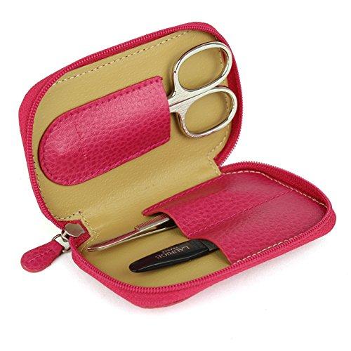 Mini Trousse manucure à Fermeture zippée - Cuir CVG - Fuchsia