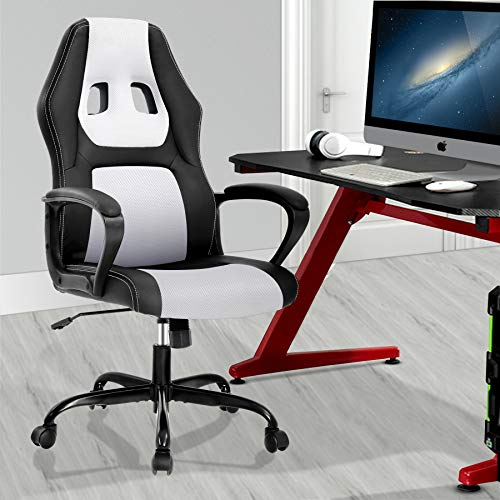 Computer Gaming Chair Office Chair Ergonomic Desk Chair Racing Game Chair High Back Chair for Women Men PU Leather Chair Ergonomic Executive Task Chair w/Headrest Armrest and Lumbar Support