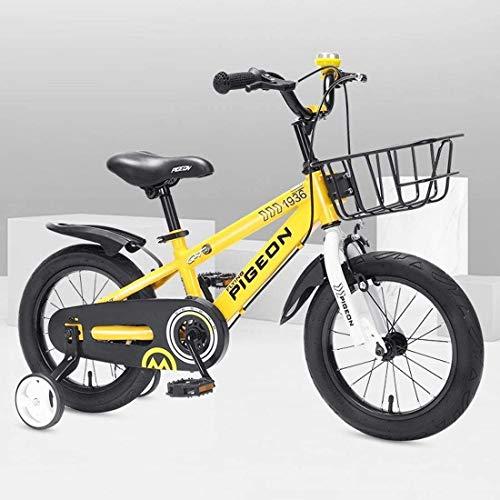 LJYY Kids Bike Boys Girls Freestyle Bicycle 12 14 16 inch with Training Wheels,12 inch with Kickstand Child's Bike Blue Red Orange Green Pink White Fuchsia