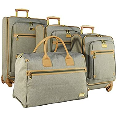 Nicole Miller New York Taylor Set of 4: Box Bag, 20 , 24 , 28  Expandable Spinner Luggages (Green)