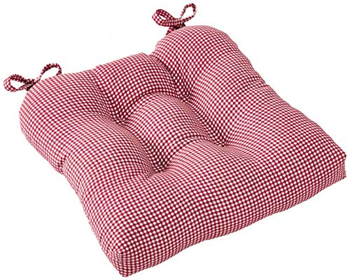 Logan Gingham Check Print Cushioned Chair Pad, Deep red