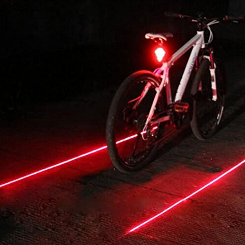 EASYGOING Bike Cycling Red Lights Waterproof with 5 LED and 2 Laser Beams - 3 Modes Bike Taillight Safety Warning Light Bicycle Rear Bycicle Light Tail Lamp