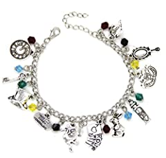 ALICE IN WONDERLAND: A must for any Alice in Wonderland fan, beautifully designed charm bracelet, a timeless item containing many characters, sayings and artifacts from the wonderful story CHARMS AND STONES: Our bracelet contains 23 charms, contains ...