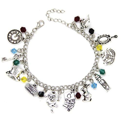 Alice im Wunderland Charm Armband – Schmuck mit Geschenk-Box perfekt für jeden Alice im Wunderland Fan Mad Hatter Tee Partys