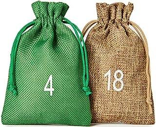 24 bolsitas para calendario de Adviento estilo yute, tamaño 15x10 cm, números impresos de 1 a 24, calendario de Adviento para rellenar, calendario navideño (natural/verde)