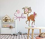 Name Wandtattoos Little Deer Bambi Aufkleber Aquarell Kunst Mädchen Name Kinderzimmer Aufkleber Hirsch Wandkunst Baby Room Decor abnehmbare Wandtattoos S321