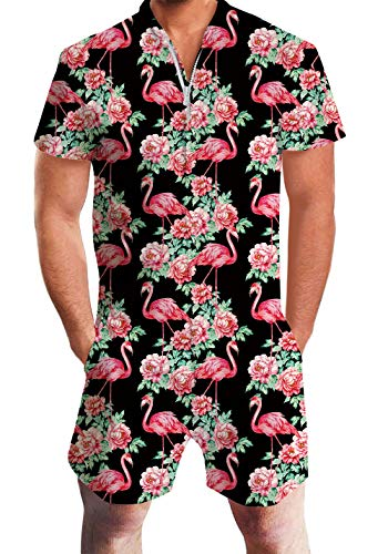 Men's Rompers Male Zipper Jumpsuit Shorts Tropical Aloha Hawaiian Flower Flamingo One Piece Romper Slim Fit Outfits Black Bro Short Sleeve Overalls