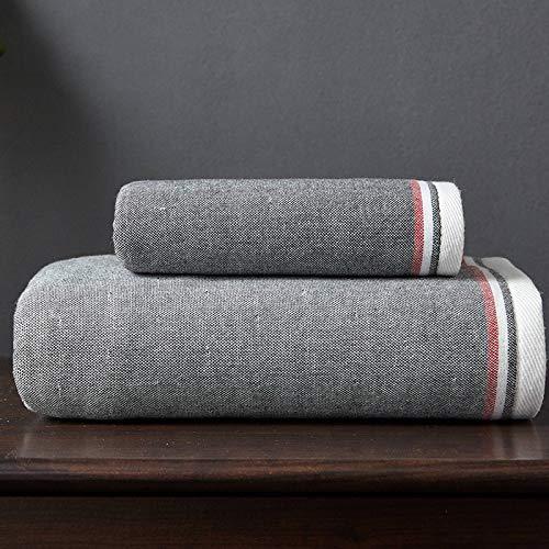 DSJDSFH Britse stijl effen katoenen badhanddoek 70 * 140Cm comfortabele absorberende en duurzame Hotel badhanddoek strandhanddoek tweedelige set