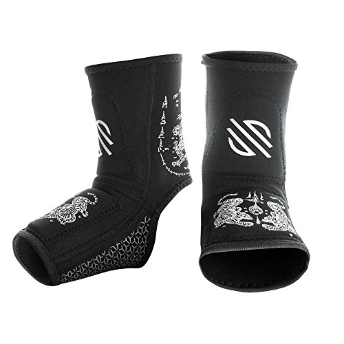 Sanabul Battle Forged Gel Ankle Guard (Black/White, Small/Medium)