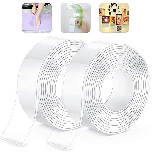 HAKACC Cinta adhesiva lavable sin dejar rastro, 6 m, nano cinta adhesiva de doble cara, multifuncional, reutilizable