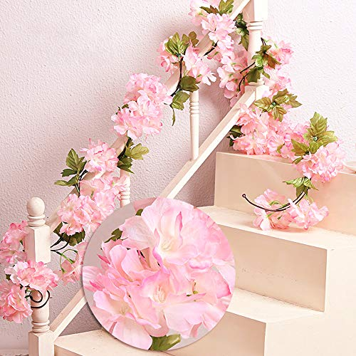 MZMing 2x235cm Artificial Cherry Blossoms Hanging Rattan Garland Wreath Fresh Lovely of Fake Flower Plant Flower Vine Leaf for Home Party Garden Fence Christmas Wedding Decoration-Pink
