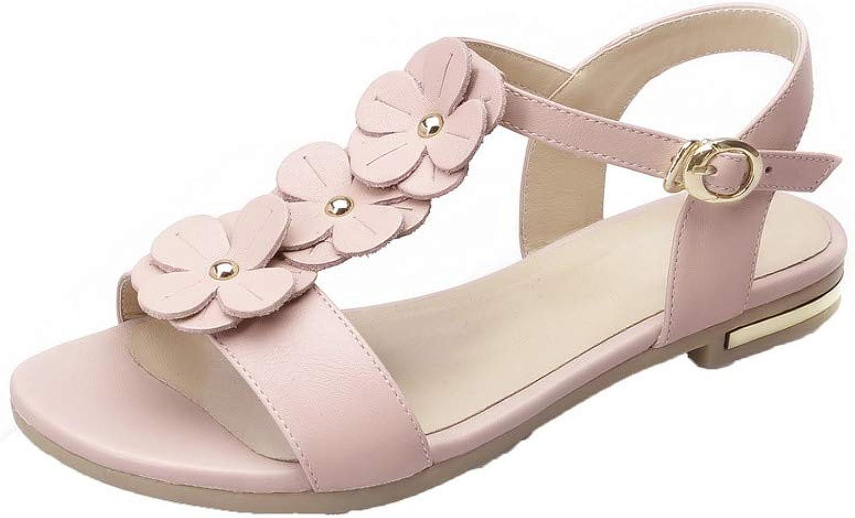 AmoonyFashion Women's Pu Buckle Open-Toe Low-Heels Solid Sandals, BUTLT006443