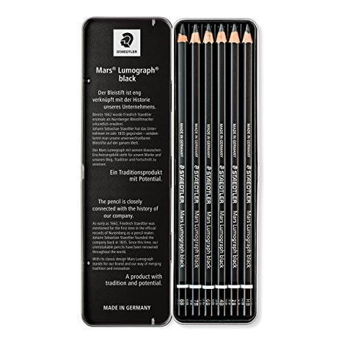 Staedtler Mars Lumograph Black, Carbon Blend Provides Jet Black Lines, Professional Art Pencils, Tin of 8 Assorted Sketch Pencils, 100B G6 Photo #7