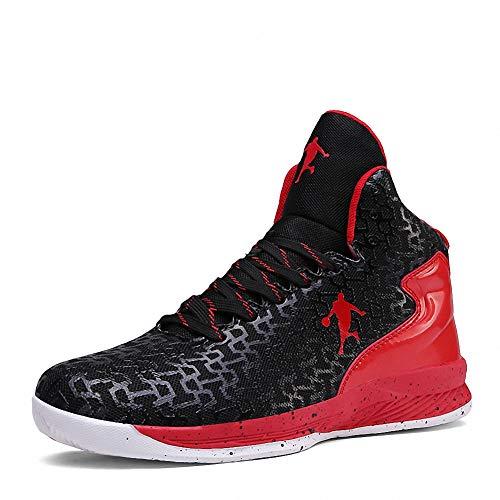 Rotok Zapatillas transpirables de baloncesto con amortiguación de la luz para hombre 6.5 Reino Unido (UE 39.5) Negro y Rojo-9107
