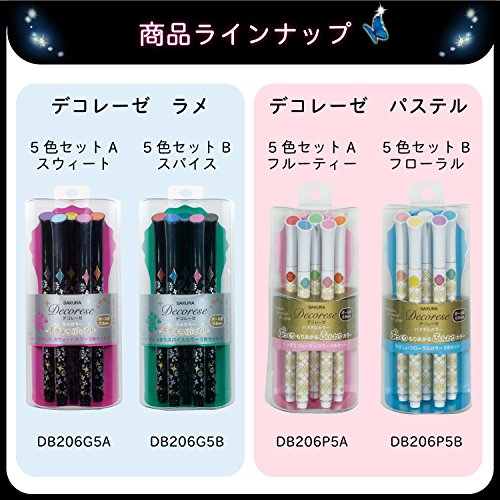 Sakura Fun Writing Gel Ink Roller Ballpoint Pen for Decoration, Decorese Glitter 5 Color Set A, Sweet Color (DB206G5A) Photo #5