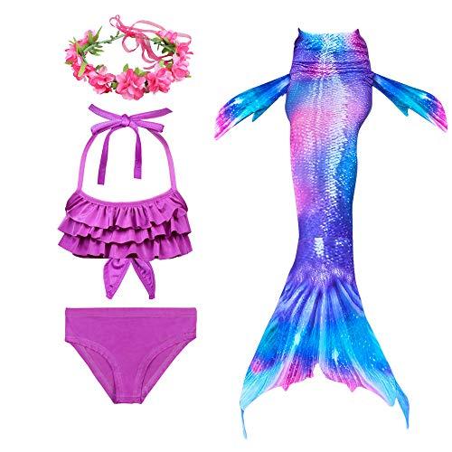 PaisDola Cola de Sirena niña para Nadar Incluido Traje de Sirena baño de Bikini de 3 Piezas y Diadema con guirnaldas de Flores (DH54-74RH,110)