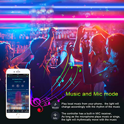 Micomlan 50ft/15M Led Strip Lights,Music Sync Color Changing RGB LED Strip Lights Built-in Mic, Bluetooth app Controlled LED Lights Rope Lights, 5050 RGB LED Light Strip(APP+Remote+Mic+3 Button ) 4