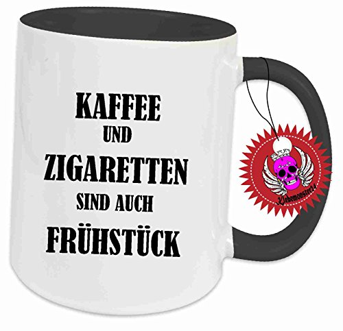 Klebemonster24 Tasse mit Aufdruck Spruch Kaffee und Zigaretten sind auch frühstück… Geschenk Geburtstag Kaffee Becher Tasse Tee Keramik Arbeit Chef Büro Bedruckt