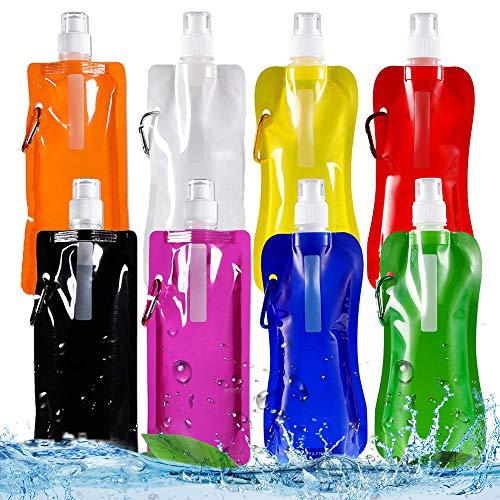Huttoly Faltbare Wasserflasche Trinkbeutel, 8 Farben 8 Stück Unisex Adult Faltbare Wasserflasche mit Karabiner,Wiederverwendbare tragbare Falten Wasser Tasche für Outdoor-Sportarten Reiten Wandern