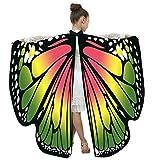 YONSIN Kinder Weiche Gewebe Schmetterlingsflügel Schal Lusting Schmetterling Kostüme Fasching Kostüme Prinzessin Feenhafte Nymphe Pixie Karneval Halloween Cosplay Verkleiden Kostüme