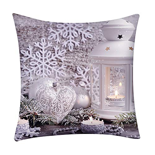 Mingbai-Christmas Decorations-Pillow Covers, Christmas Print Pillowcase Throw Pillow Covers, Polyester Cushion Cover, New Year Christmas Decorations Clearance, Personalized Gifts, Home Decor (C)