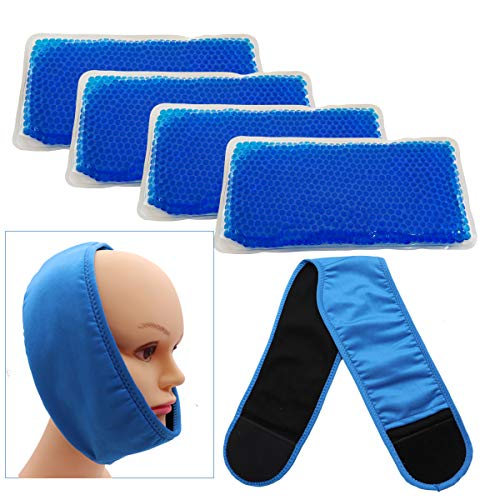 Face ice Pack for Jaw, Head and Chin, Reusable Hot or Cold Gel Packs Pain Relief for TMJ, Oral and Facial Surgery, Dental Implants (Type 1)