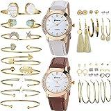 Yunanwa 29 PCS Gold Jewelry Watches Set with 2PCS Watches, 9PCS Bracelet, 18 Pairs Layered Ball Dangle Hoop Stud Earrings for Women Girls