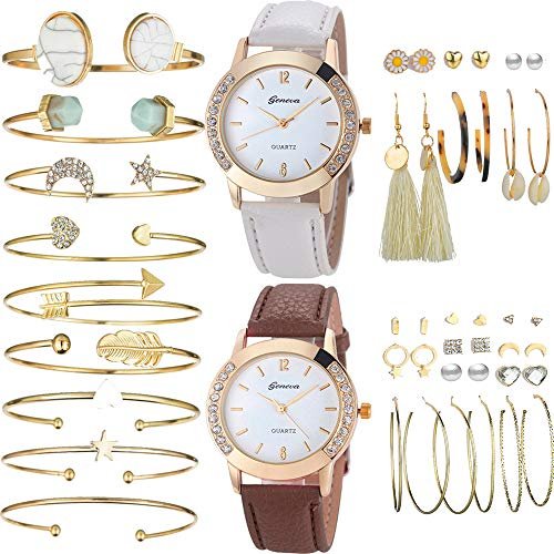Yunanwa 29 PCS Gold Jewelry Watches Set with 2PCS Watches, 9PCS Bracelet, 18 Pairs Layered Ball Dangle Hoop Stud Earrings for Women Girls