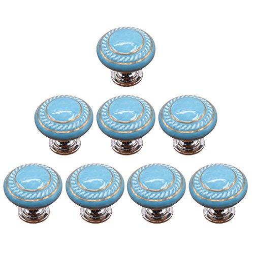 YAKOK Knöpfe Keramik Möbel, 8er Knauf Schrank Schubladenknöpfe Kinderzimmer Schrankknöpfe Kabinettknöpfe Kinder Möbelknöpfe Pull Knob für Möbel (Blau)