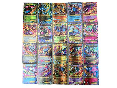 100 Poke Cards TCG Style Card Flash Card Holo EX Full Art for Children, Pokemon Lover