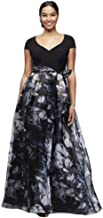 Printed Organza Ball Mother of Bride/Groom Gown with Jersey Bodice Style 7141139