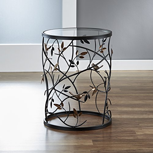 "FirsTime & Co. Antique Large Bird and Branches Side Glass Tabletop Accent Table, 22""H x 16.5"