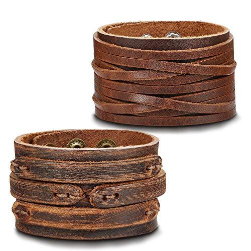 Milacolato Handmade Genuine Leather Bracelet Adjustable Wide Brown Belt Cuff Bangle Punk Wristband