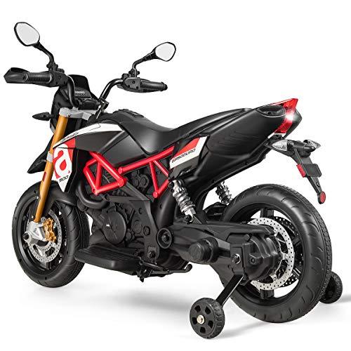 DREAMADE Kindermotorrad, Kinder Elektrofahrzeug mit Stützrädern & Licht & Musik, Elektrisches Kindermotorrad mit Schlüssel, Kinderfahrzeug 25kg belastbar