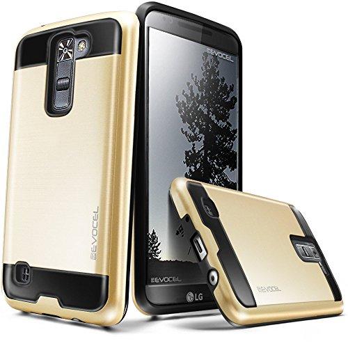 LG K7 / LG Tribute 5 Case, Evocel [Hybrid Lite Series] Brushed Metal Texture, Single Piece, Slim Profile Case for LG K7 (MS330) / LG Tribute 5 (LS675) / LG Treasure LTE (L52VL), Gold