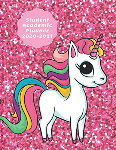 Student Academic Planner 2020-2021: Pink Sparkle Unicorn Daily Organizer Calendar Class Schedule, School Assignment Tracker, Grade Log Book, Goals, Notes Pages, Weekly Monthly (School Organizer)