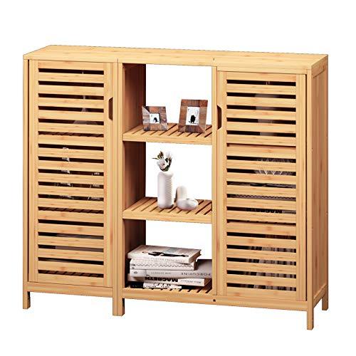 VIAGDO Kommode Sideboard, Bambus Beistellschrank, Küchenschrank, Schrank mit 2 Lamellentür und offenen Fächern, für Esszimmer, Wohnzimmer, Küche, Flur, Badezimmer 87x99x33 cm(HxBxT)
