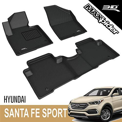 3D MAXpider - L1HY01701509 Custom Fit Floor Mats for Hyundai Santa FE Sport 2013-2018 All-Weather Car Floor Mats Liners, Kagu Series (1st & 2nd Row, Black)