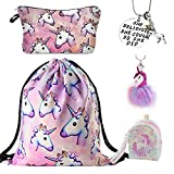 DRESHOW Unicorn Gifts for Girls 4 Pack - Unicornio Mochila con cordón/Maquillaje...