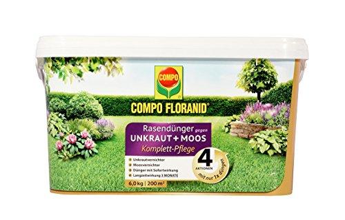 Compo FLORANID Rasendünger gegen Unkraut+ Moos Komplett-Pflege, 3 Monate Langzeitwirkung, Feingranulat, 6 kg, 200 m²