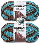 Bernat Blanket Yarn - Big Ball (10.5 oz) - 2 Pack with Pattern Cards in Color (Mallard Wood)