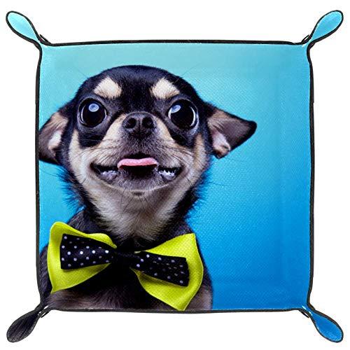 Lindo perro PU cuero plegable dados Rolling Tray para reloj joyería almacenamiento...
