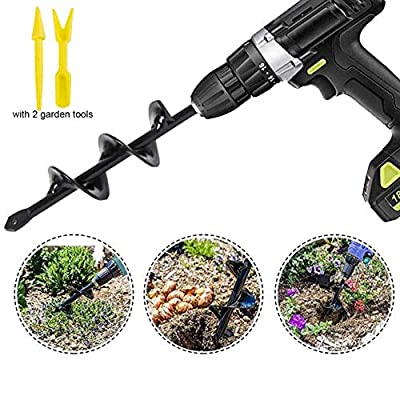 """Auger Drill Bit - Garden Auger Spiral Drill Bit 1.6"""" x 9 """"Rapid Planter for 3/8"""" Hex Drive Drill - for Tulips, Iris, Bedding Plants and Digging Weeds Roots"""