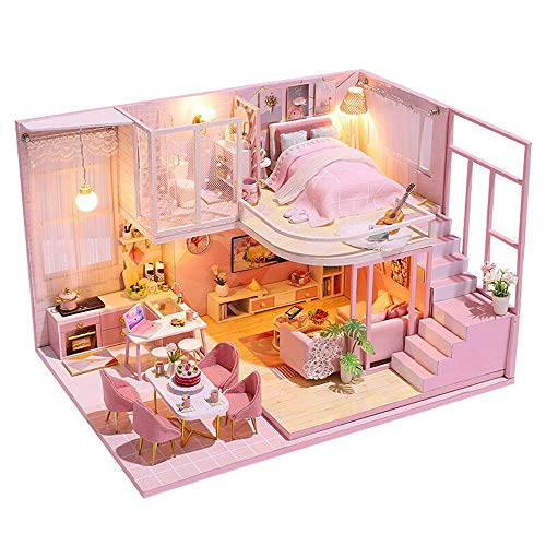 piberagi Dollhouse DIY Miniature Dollhouse Kit Mini Doll House Accessories Wooden Model Kits with Furniture Toy Plus Dust Proof and Music Movement Handcrafts Toys for Kids Children Teens Birthday Gift
