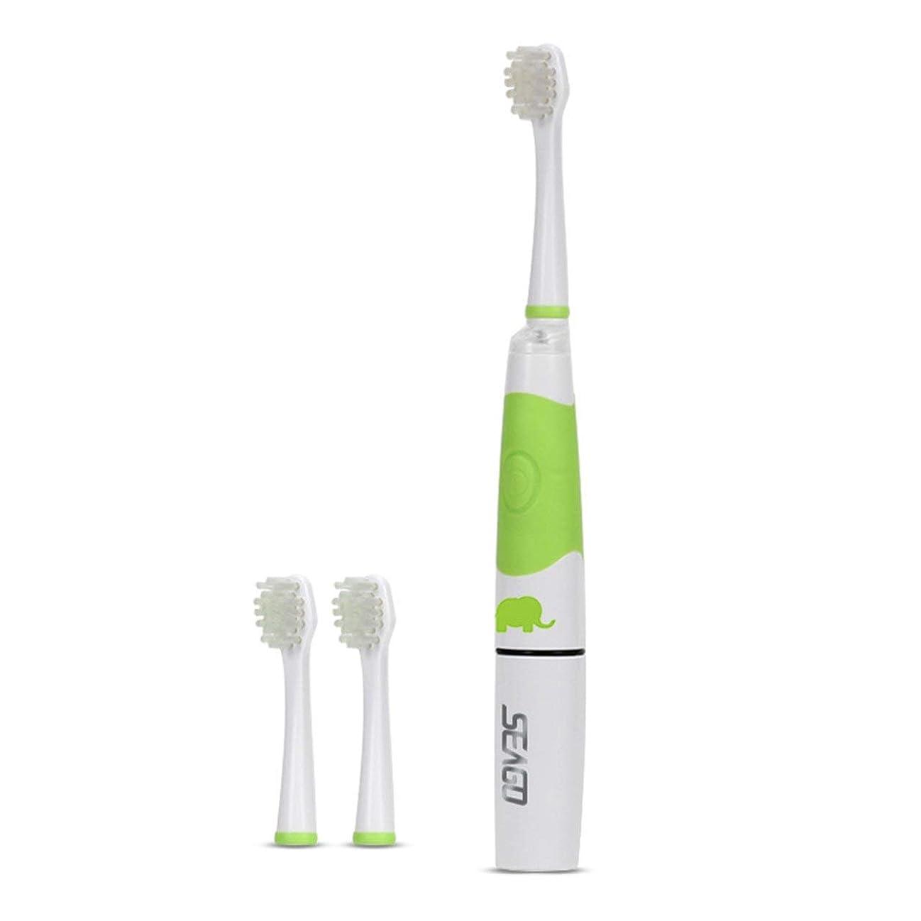 スポンジ悪魔後世Saikogoods 電動歯ブラシ 3ブラシヘッドインテリジェントLEDライトオーラルケアデンタルソニック歯ブラシでSeago SG-618子供の電動歯ブラシ 緑
